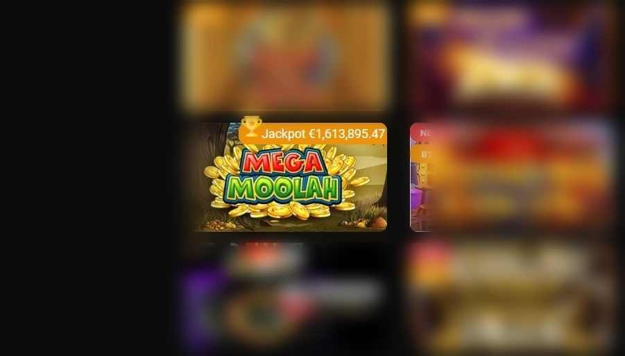 Mega Moolah slot displaying a jackpot as it is one of the progressive types of casino games.