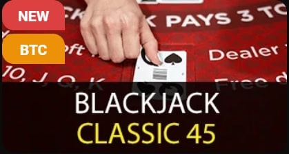 Dealer's hand presenting a card on a blackjack table on a logo of Blackjack Classic 45.
