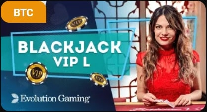 A cute dealer in a red dress, presenting the live casino Blackjack VIP L from Evolution.
