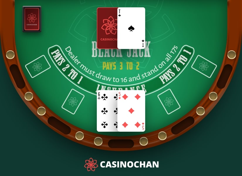 A hard eleven from 6 and 5 is an example of using a proper Blackjack double down strategy.