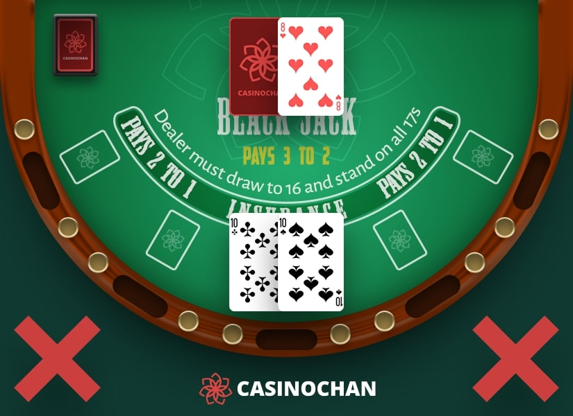 A pair of tens in the player's hand during the game of blackjack.