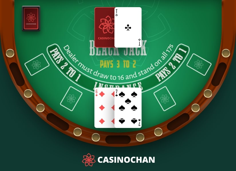 Dealer's upcard is Ace and player hand is 13: example of when surrender in Blackjack can be used.