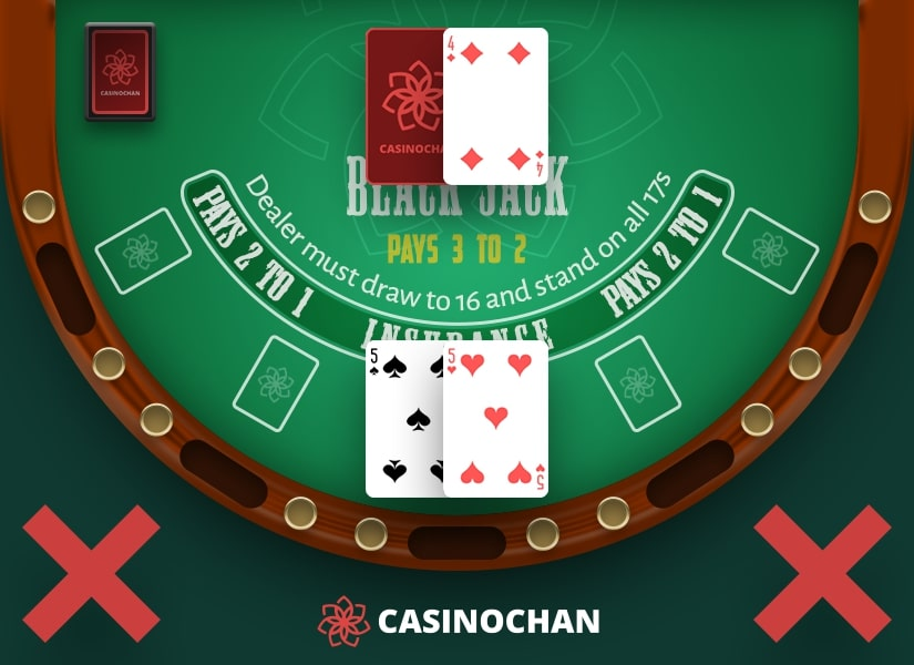 A pair of fives in player's hand and the live casino dealer's up card 4.