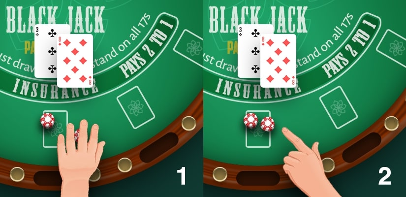 Hands moving the chips, showing how to signal a double down in Blackjack.