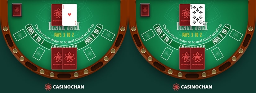 Dealer's upcards either 10 or Ace, examples of when the peek rule can be used in Blackjack.