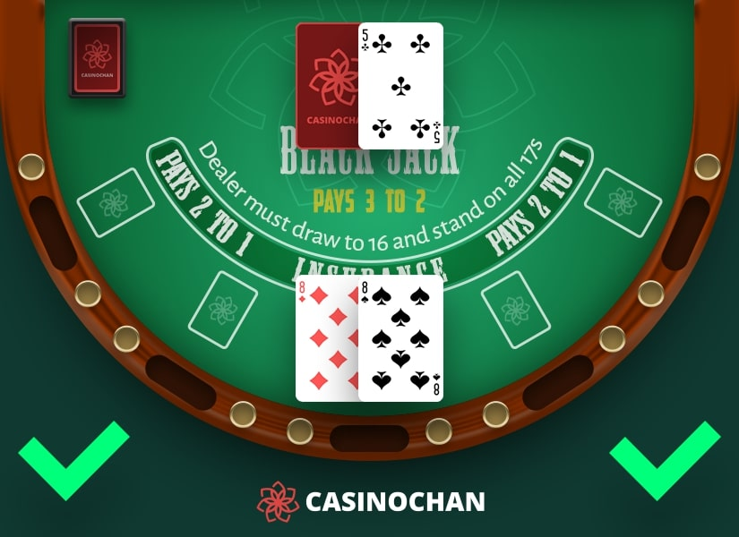 A casino table showing what cards should you split in blackjack.