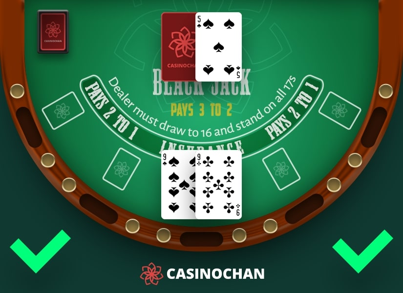 An example of player's hand with nines that can be split in Blackjack.