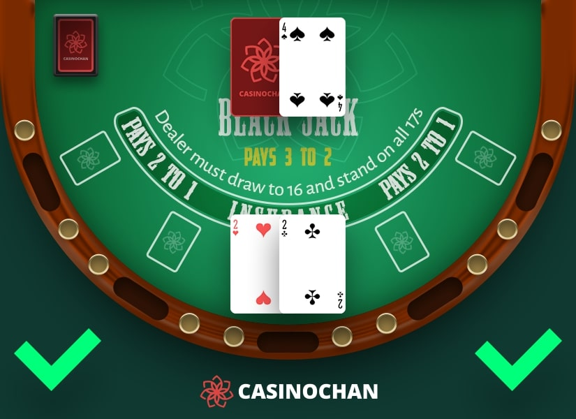 A pair of two's: an example of when to split cards in Blackjack.