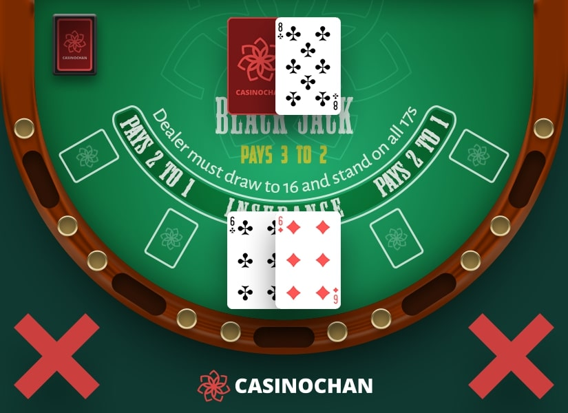 A pair of six in player's hand: an example of when not to split in Blackjack.