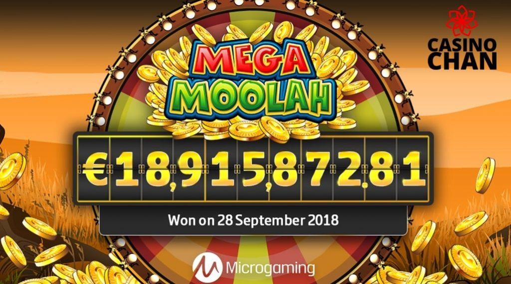 Large jackpot in Mega Moolah - the best progressive jackpot slot.