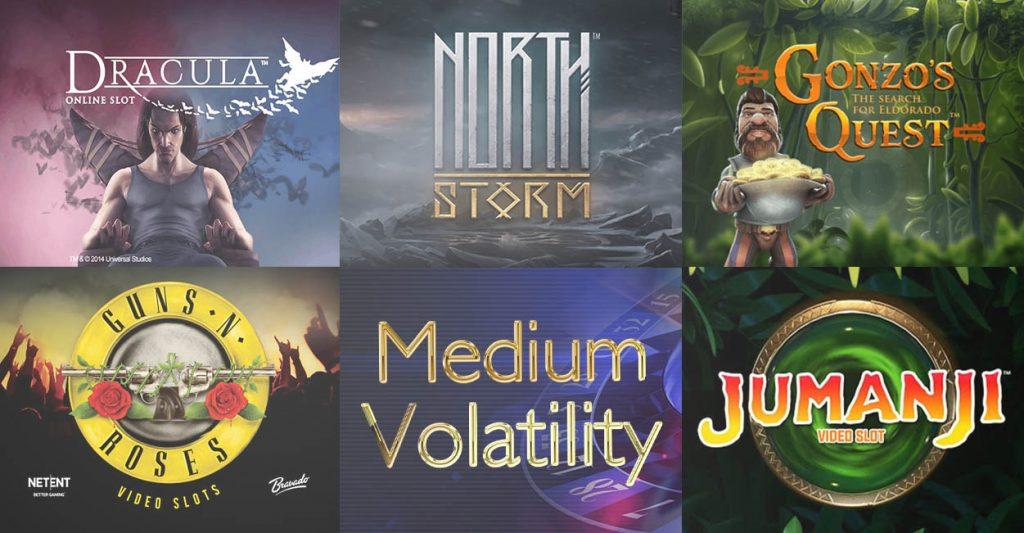 Medium volatility slots: Jumanji, Guns'n'Roses, Gonzo's Quest, and North Storm