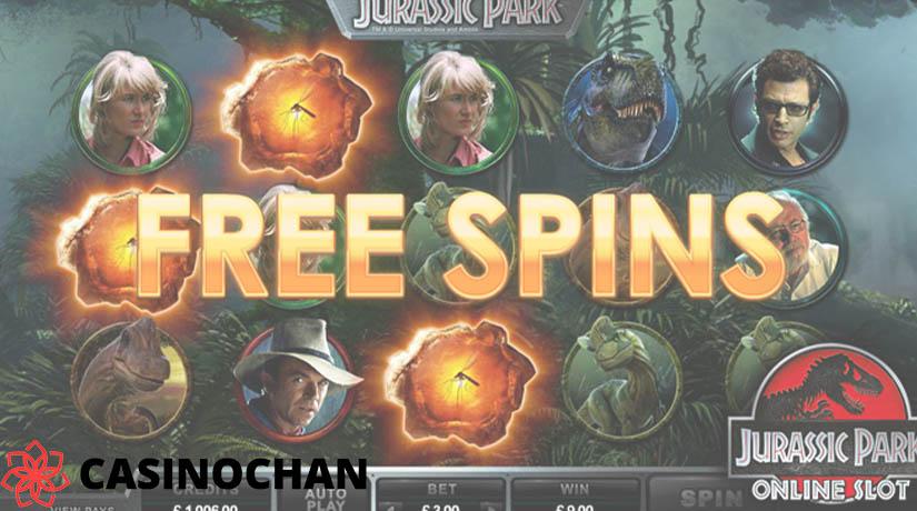 Putaran bebas berputar di slot Jurassic Park.