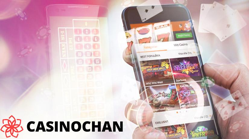 Manusia bermain kasino ponsel di telepon