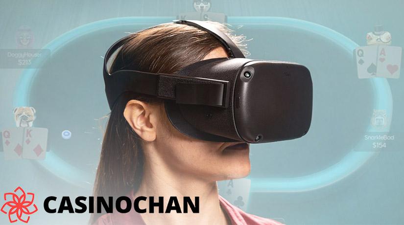 Wanita yang bermain kasino VR online